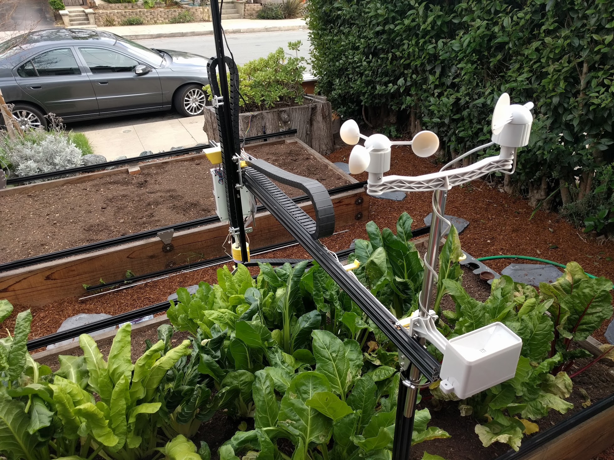 This FarmBot has been augmented with a weather station