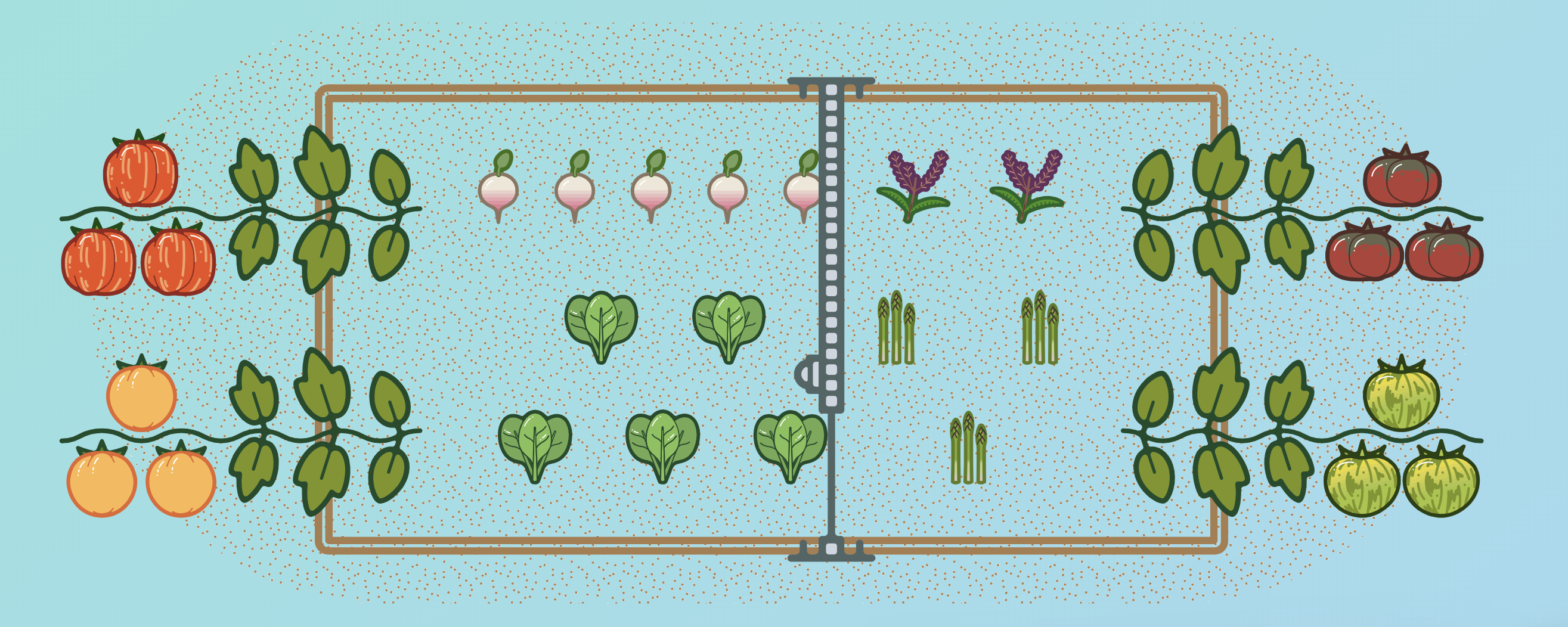 illustration of farmbot with vines at the ends of the bed