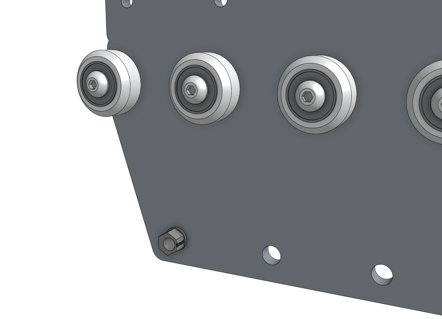 gantry wheel plate with one eccentric spacer